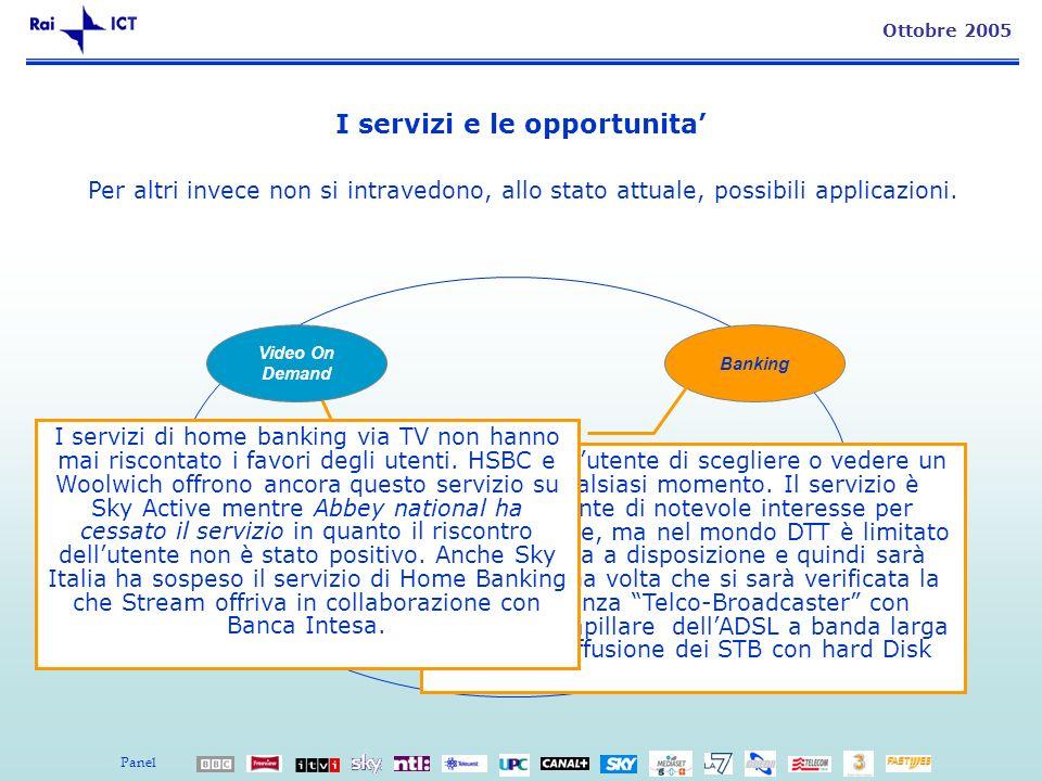 13 Ottobre 2005 I servizi e le opportunita Banking T-Commerce Accesso Internet / E- mail Per altri invece non si intravedono, allo stato attuale, possibili applicazioni.