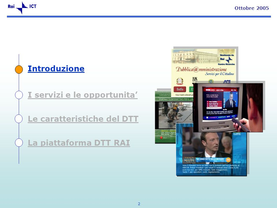 2 Ottobre 2005 Introduzione I servizi e le opportunita Le caratteristiche del DTT La piattaforma DTT RAI