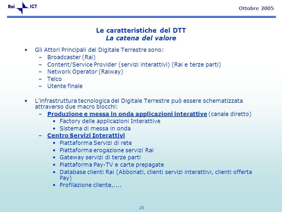 20 Ottobre 2005 Le caratteristiche del DTT La catena del valore Gli Attori Principali del Digitale Terrestre sono: –Broadcaster (Rai) –Content/Service