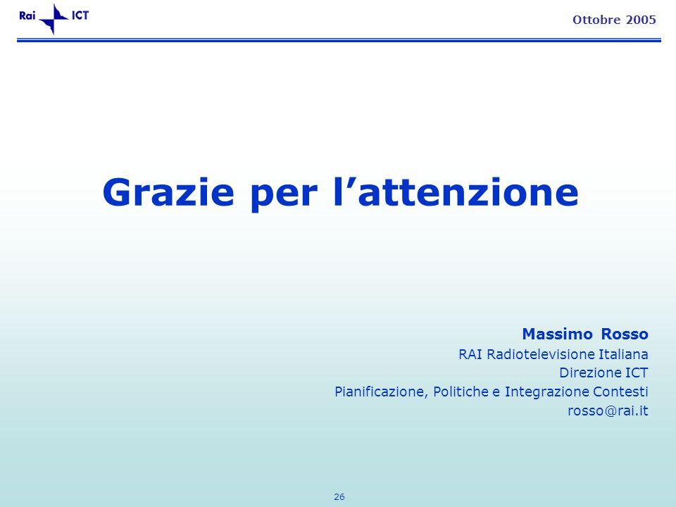 26 Ottobre 2005 Grazie per lattenzione Massimo Rosso RAI Radiotelevisione Italiana Direzione ICT Pianificazione, Politiche e Integrazione Contesti rosso@rai.it