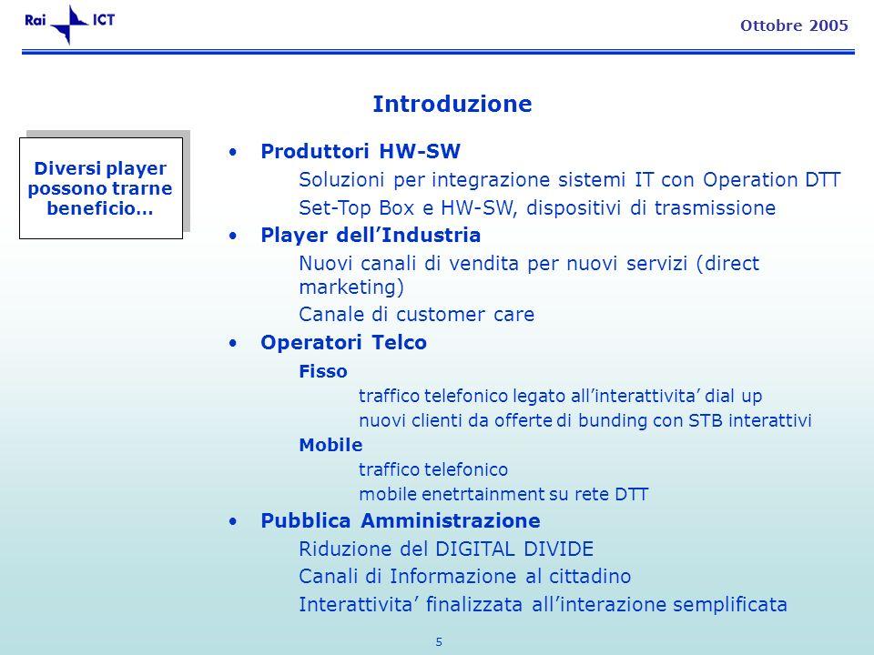 5 Ottobre 2005 Diversi player possono trarne beneficio… Produttori HW-SW Soluzioni per integrazione sistemi IT con Operation DTT Set-Top Box e HW-SW,