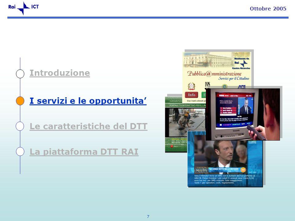 7 Ottobre 2005 Introduzione I servizi e le opportunita Le caratteristiche del DTT La piattaforma DTT RAI