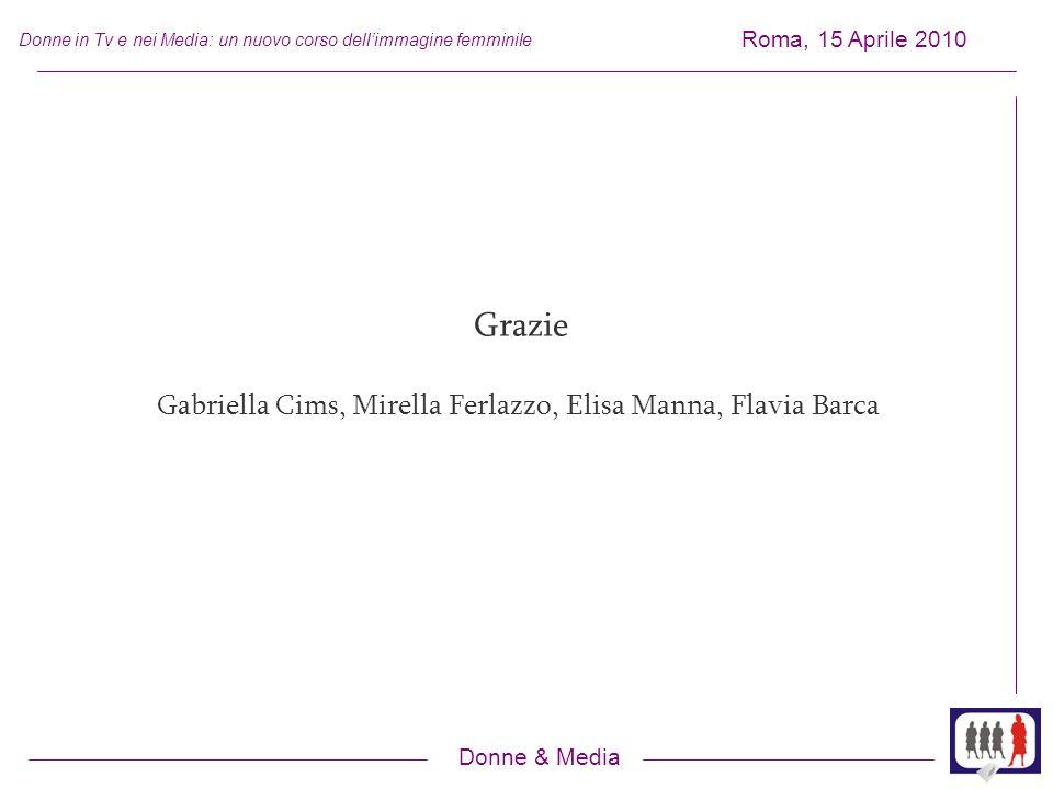 Donne & Media Roma, 15 Aprile 2010 Donne in Tv e nei Media: un nuovo corso dellimmagine femminile Grazie Gabriella Cims, Mirella Ferlazzo, Elisa Manna, Flavia Barca