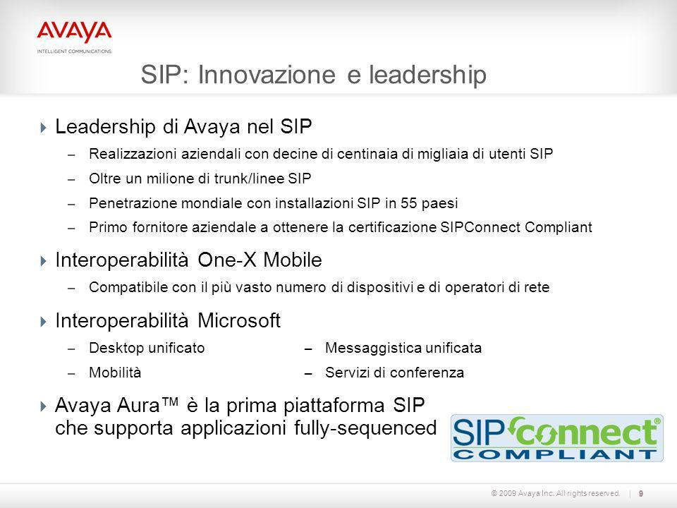 © 2009 Avaya Inc. All rights reserved.9 SIP: Innovazione e leadership Leadership di Avaya nel SIP – Realizzazioni aziendali con decine di centinaia di