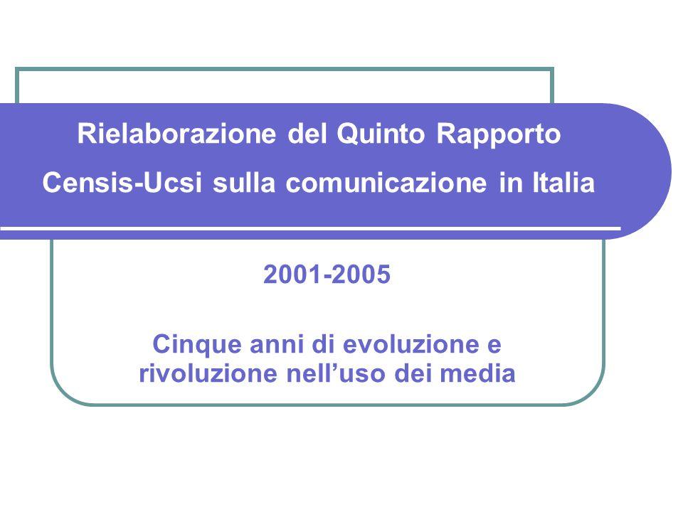 Motivazioni alluso dei media: i settimanali Fonte: indagini Censis, 2001, 2005
