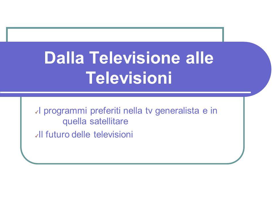 Dalla Televisione alle Televisioni I programmi preferiti nella tv generalista e in quella satellitare Il futuro delle televisioni