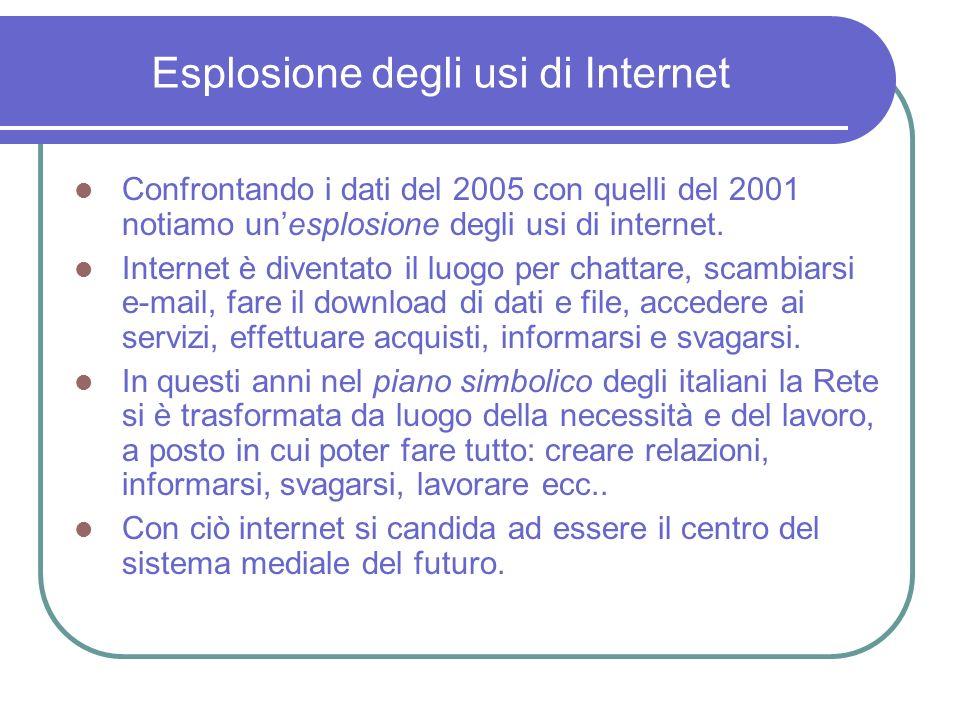 Esplosione degli usi di Internet Confrontando i dati del 2005 con quelli del 2001 notiamo unesplosione degli usi di internet.
