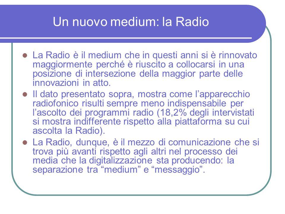 Un nuovo medium: la Radio La Radio è il medium che in questi anni si è rinnovato maggiormente perché è riuscito a collocarsi in una posizione di intersezione della maggior parte delle innovazioni in atto.