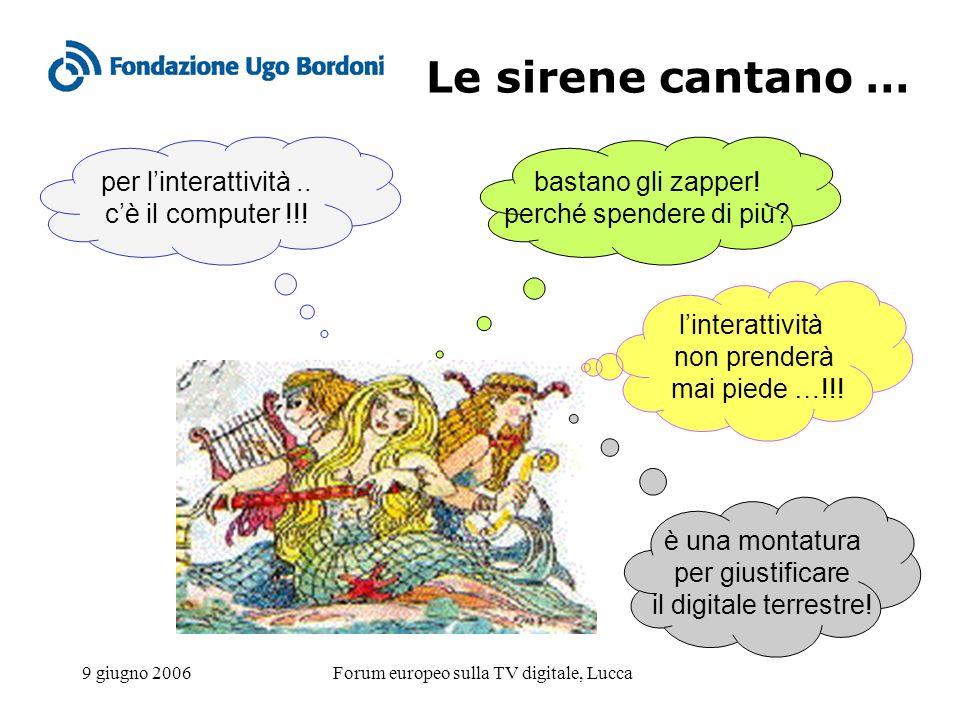 9 giugno 2006Forum europeo sulla TV digitale, Lucca Le sirene cantano … bastano gli zapper! perché spendere di più? per linterattività.. cè il compute