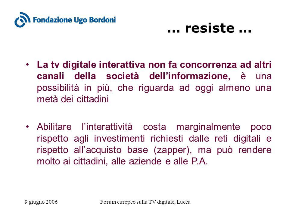 9 giugno 2006Forum europeo sulla TV digitale, Lucca … resiste … La tv digitale interattiva non fa concorrenza ad altri canali della società dellinform