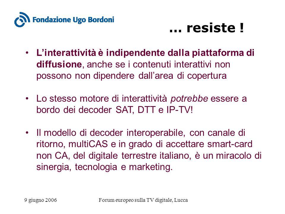 9 giugno 2006Forum europeo sulla TV digitale, Lucca … resiste ! Linterattività è indipendente dalla piattaforma di diffusione, anche se i contenuti in
