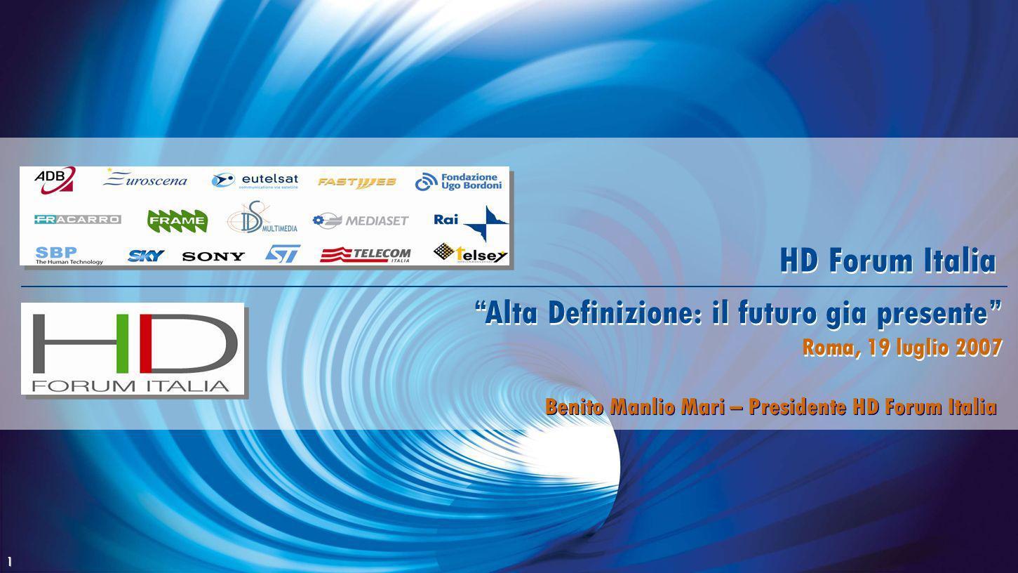 1 Alta Definizione: il futuro gia presente Roma, 19 luglio 2007 Alta Definizione: il futuro gia presente Roma, 19 luglio 2007 HD Forum Italia Benito M