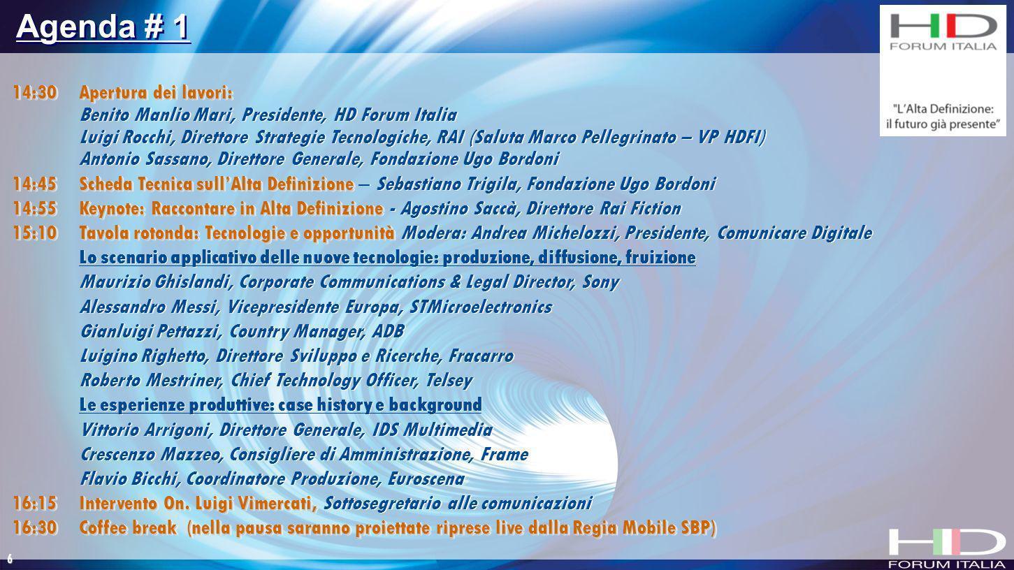 6 14:30 Apertura dei lavori: Benito Manlio Mari, Presidente, HD Forum Italia Luigi Rocchi, Direttore Strategie Tecnologiche, RAI (Saluta Marco Pellegr