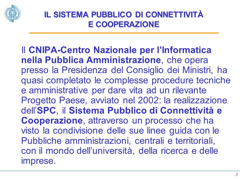 3 IL SISTEMA PUBBLICO DI CONNETTIVITÀ E COOPERAZIONE Il CNIPA-Centro Nazionale per lInformatica nella Pubblica Amministrazione, che opera presso la Pr