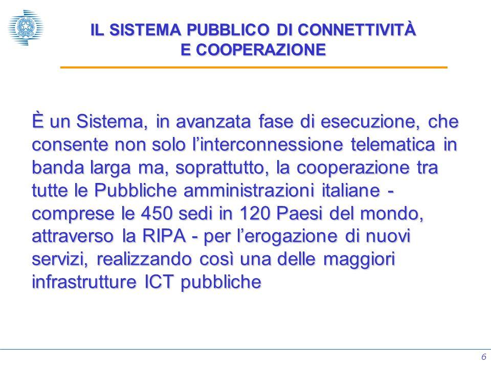 6 IL SISTEMA PUBBLICO DI CONNETTIVITÀ E COOPERAZIONE È un Sistema, in avanzata fase di esecuzione, che consente non solo linterconnessione telematica