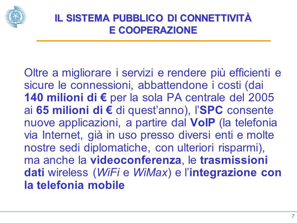 7 IL SISTEMA PUBBLICO DI CONNETTIVITÀ E COOPERAZIONE Oltre a migliorare i servizi e rendere più efficienti e sicure le connessioni, abbattendone i cos