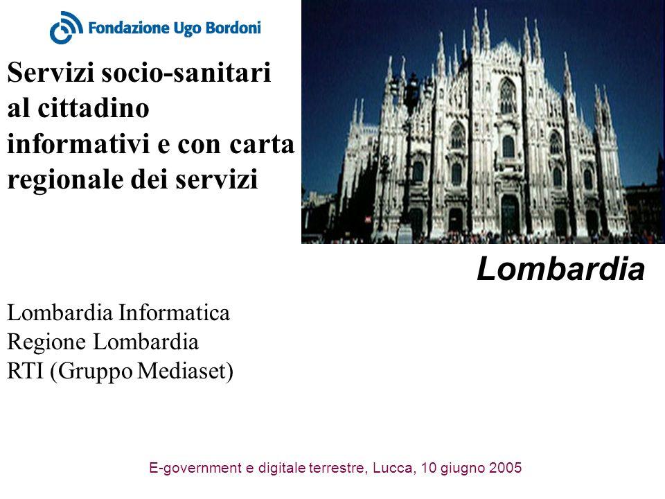 E-government e digitale terrestre, Lucca, 10 giugno 2005 Servizi socio-sanitari al cittadino informativi e con carta regionale dei servizi Lombardia Lombardia Informatica Regione Lombardia RTI (Gruppo Mediaset)