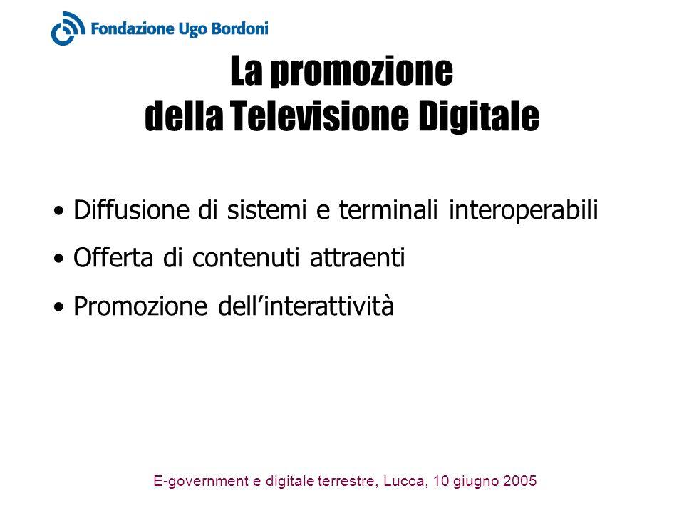E-government e digitale terrestre, Lucca, 10 giugno 2005 La promozione della Televisione Digitale Diffusione di sistemi e terminali interoperabili Off