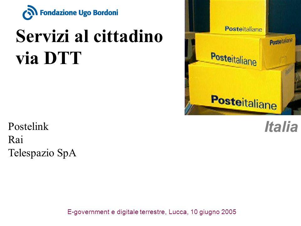 E-government e digitale terrestre, Lucca, 10 giugno 2005 Servizi al cittadino via DTT Italia Postelink Rai Telespazio SpA