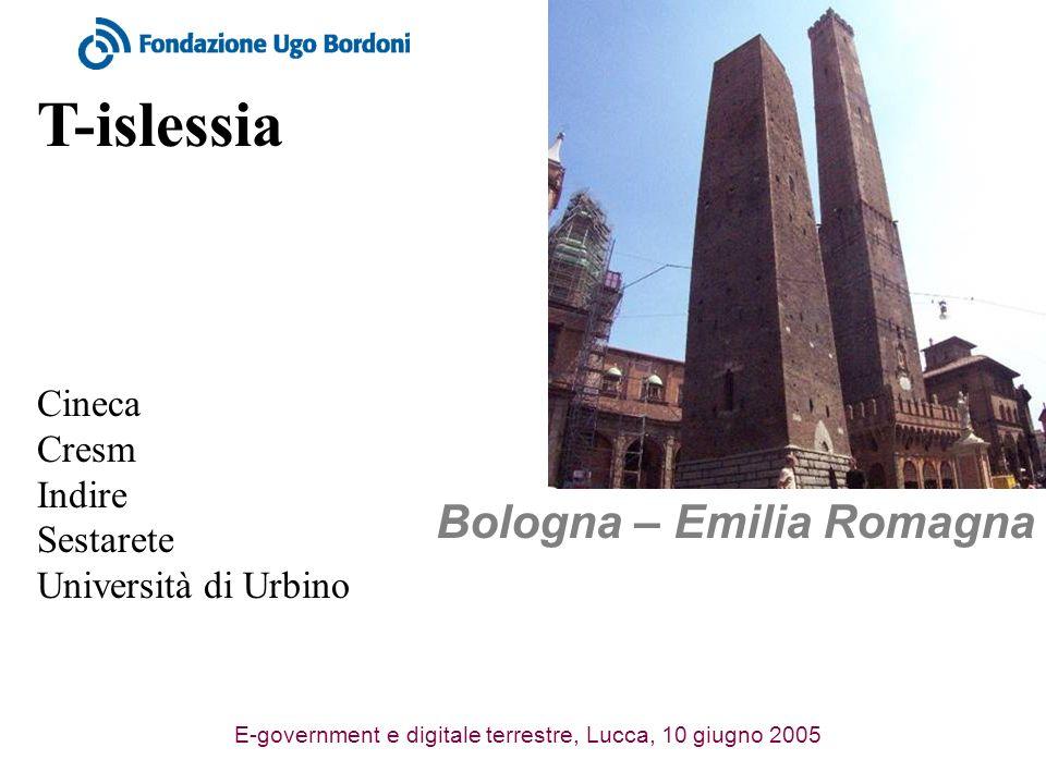 E-government e digitale terrestre, Lucca, 10 giugno 2005 T-islessia Bologna – Emilia Romagna Cineca Cresm Indire Sestarete Università di Urbino