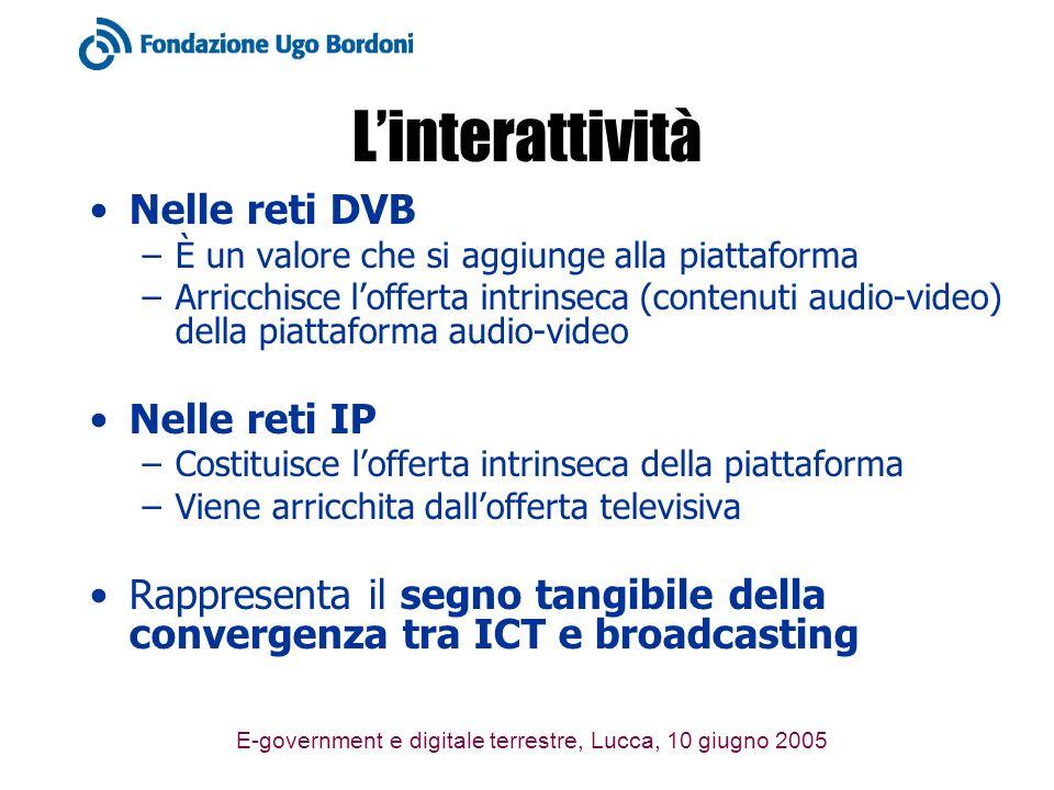 E-government e digitale terrestre, Lucca, 10 giugno 2005 Linterattività Nelle reti DVB –È un valore che si aggiunge alla piattaforma –Arricchisce loff