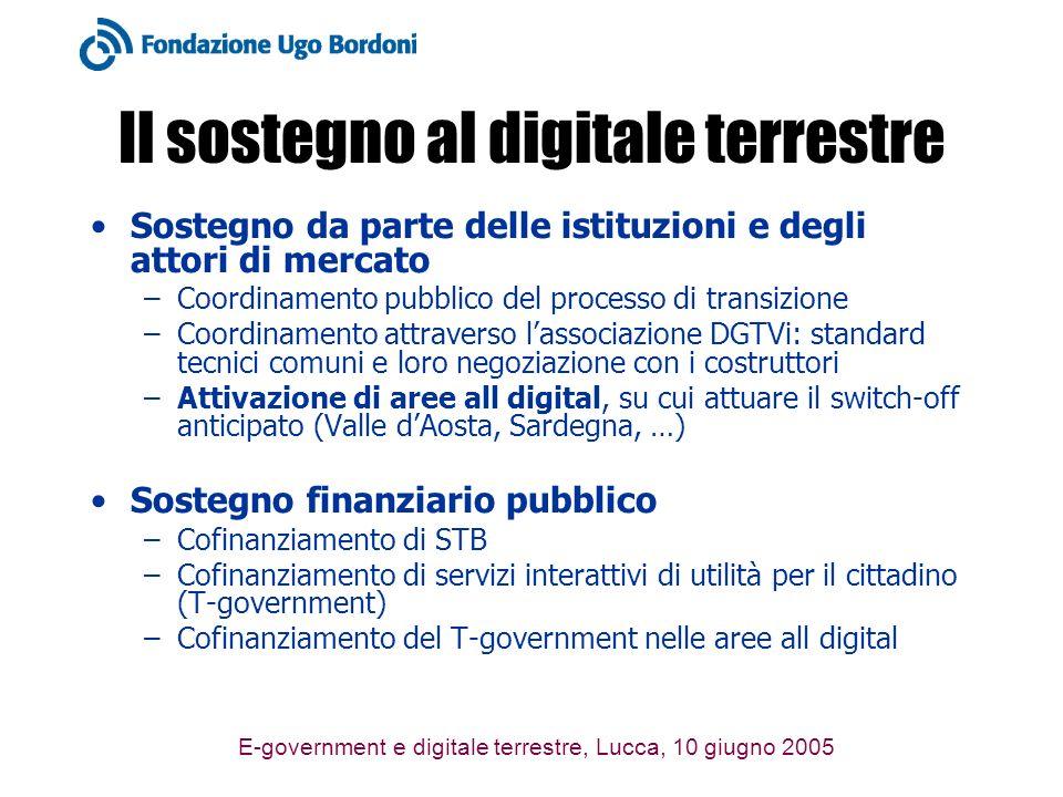 E-government e digitale terrestre, Lucca, 10 giugno 2005 Il sostegno al digitale terrestre Sostegno da parte delle istituzioni e degli attori di mercato –Coordinamento pubblico del processo di transizione –Coordinamento attraverso lassociazione DGTVi: standard tecnici comuni e loro negoziazione con i costruttori –Attivazione di aree all digital, su cui attuare il switch-off anticipato (Valle dAosta, Sardegna, …) Sostegno finanziario pubblico –Cofinanziamento di STB –Cofinanziamento di servizi interattivi di utilità per il cittadino (T-government) –Cofinanziamento del T-government nelle aree all digital