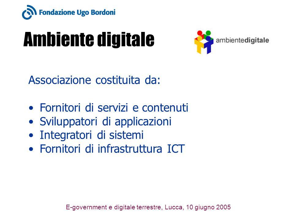 E-government e digitale terrestre, Lucca, 10 giugno 2005 Ambiente digitale Associazione costituita da: Fornitori di servizi e contenuti Sviluppatori d