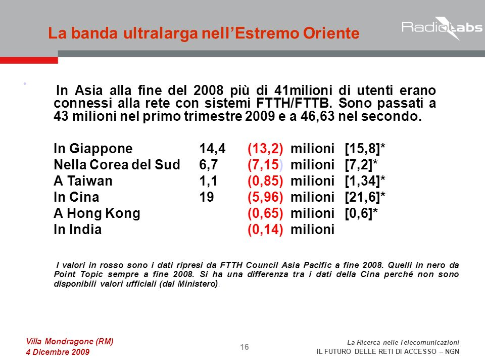 La Ricerca nelle Telecomunicazioni IL FUTURO DELLE RETI DI ACCESSO – NGN Villa Mondragone (RM) 4 Dicembre 2009 La banda ultralarga nellEstremo Oriente 16 In Asia alla fine del 2008 più di 41milioni di utenti erano connessi alla rete con sistemi FTTH/FTTB.