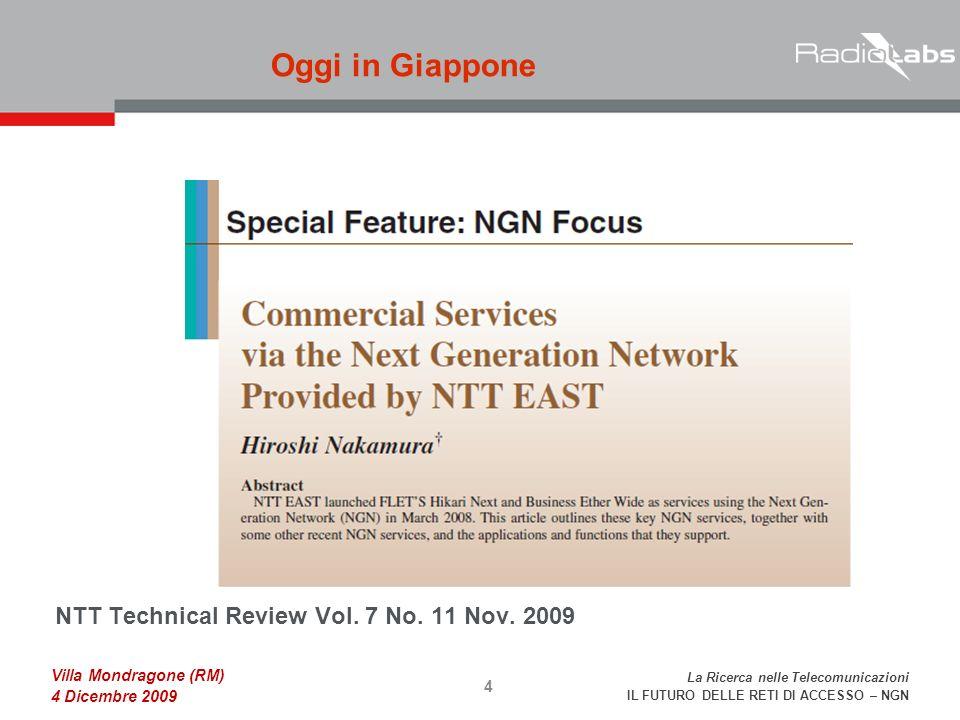 La Ricerca nelle Telecomunicazioni IL FUTURO DELLE RETI DI ACCESSO – NGN Villa Mondragone (RM) 4 Dicembre 2009 NTT Technical Review Vol.