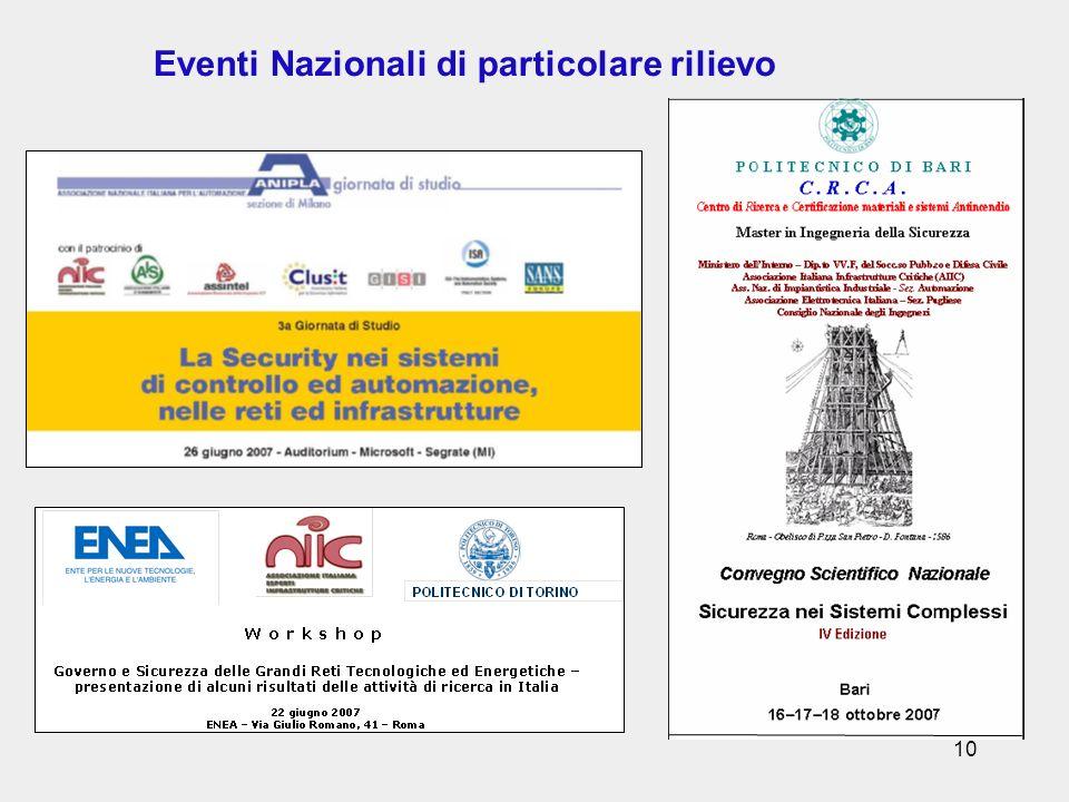 10 Eventi Nazionali di particolare rilievo