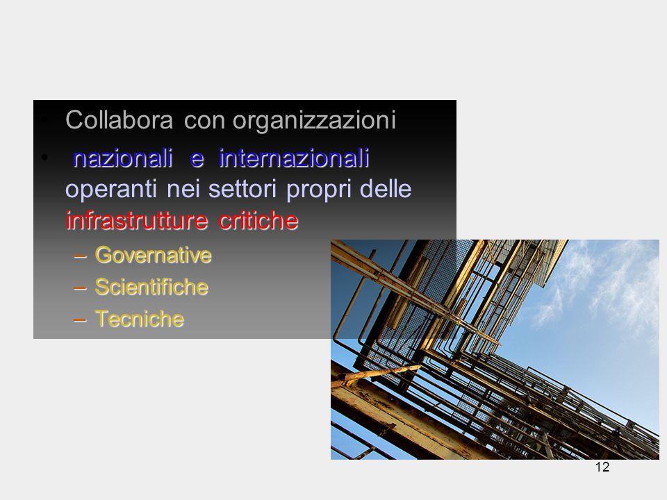 12 Collabora con organizzazioni nazionali e internazionali infrastrutture critiche nazionali e internazionali operanti nei settori propri delle infras