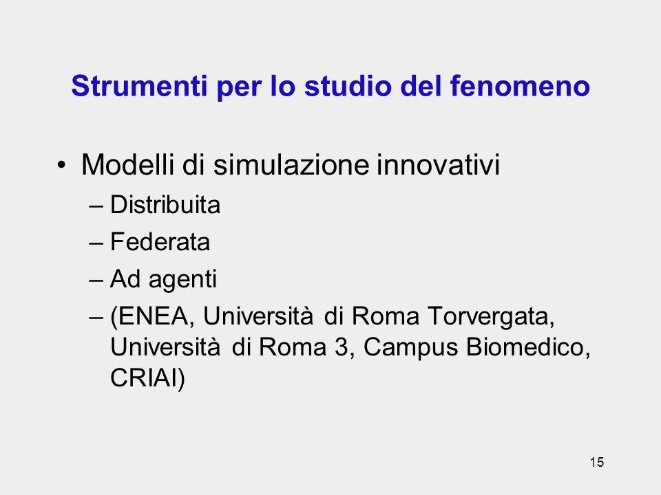 15 Strumenti per lo studio del fenomeno Modelli di simulazione innovativi –Distribuita –Federata –Ad agenti –(ENEA, Università di Roma Torvergata, Uni