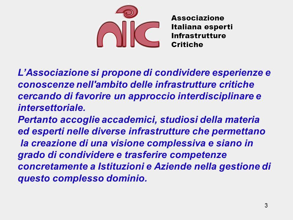 3 LAssociazione si propone di condividere esperienze e conoscenze nell'ambito delle infrastrutture critiche cercando di favorire un approccio interdis
