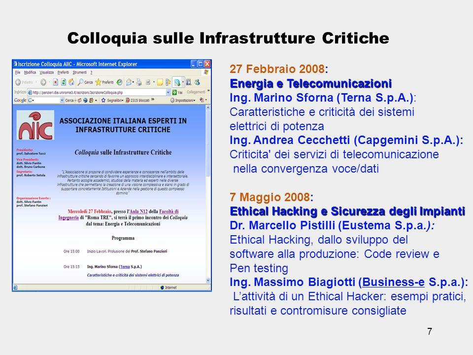 7 Colloquia sulle Infrastrutture Critiche 27 Febbraio 2008: Energia e Telecomunicazioni Ing. Marino Sforna (Terna S.p.A.): Caratteristiche e criticità