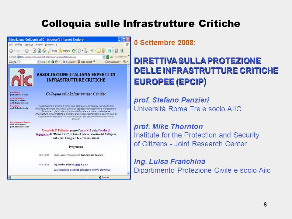 8 Colloquia sulle Infrastrutture Critiche 5 Settembre 2008: DIRETTIVA SULLA PROTEZIONE DELLE INFRASTRUTTURE CRITICHE EUROPEE (EPCIP EUROPEE (EPCIP ) p