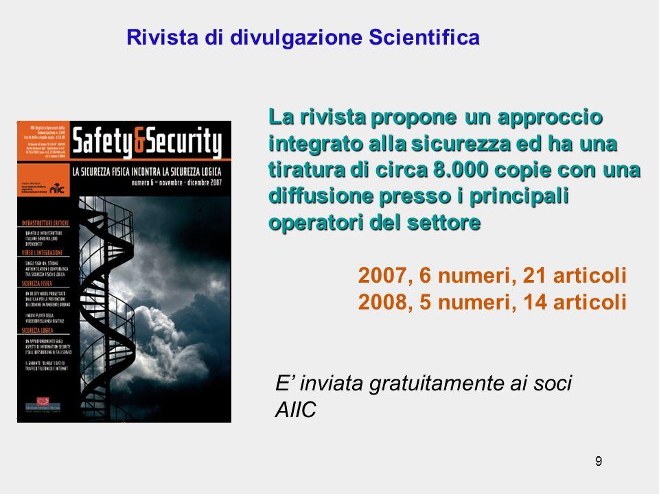 9 Rivista di divulgazione Scientifica 2007, 6 numeri, 21 articoli 2008, 5 numeri, 14 articoli La rivista propone un approccio integrato alla sicurezza