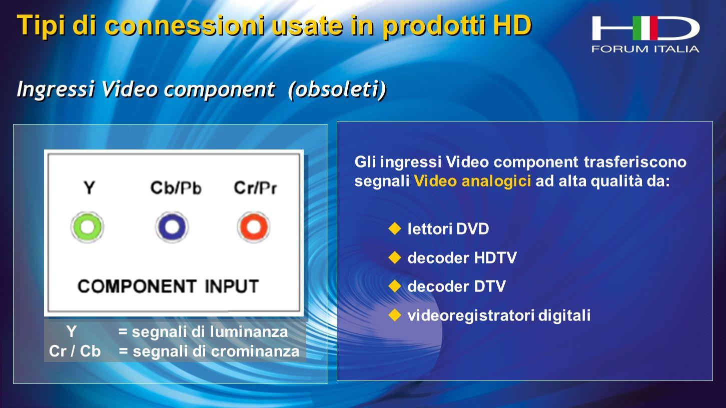 Tipi di connessioni usate in prodotti HD Ingressi Video component (obsoleti) Tipi di connessioni usate in prodotti HD Ingressi Video component (obsoleti) Y = segnali di luminanza Cr / Cb = segnali di crominanza Gli ingressi Video component trasferiscono segnali Video analogici ad alta qualità da: lettori DVD decoder HDTV decoder DTV videoregistratori digitali