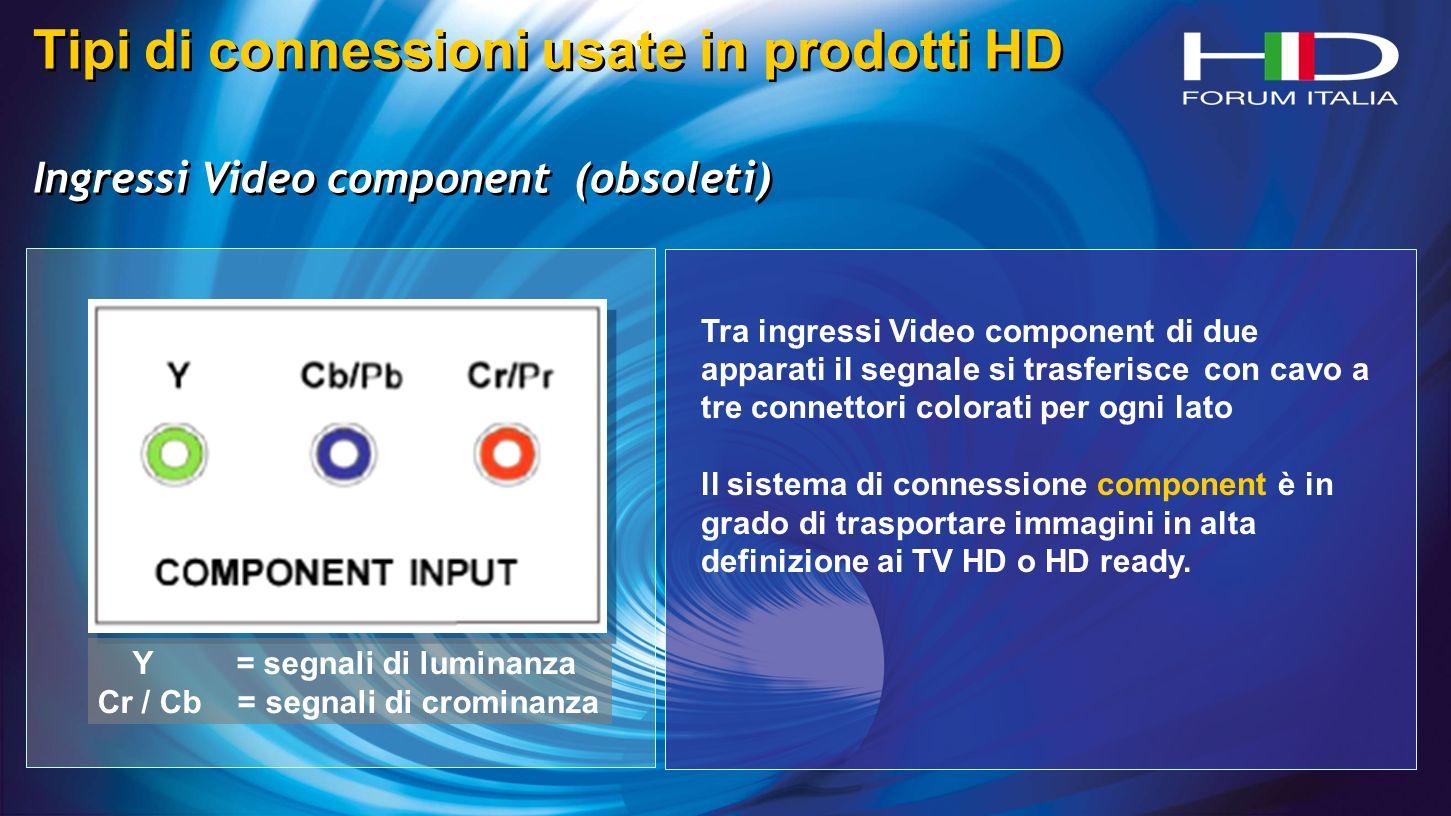 Y = segnali di luminanza Cr / Cb = segnali di crominanza Tipi di connessioni usate in prodotti HD Ingressi Video component (obsoleti) Tipi di connessioni usate in prodotti HD Ingressi Video component (obsoleti) Tra ingressi Video component di due apparati il segnale si trasferisce con cavo a tre connettori colorati per ogni lato ll sistema di connessione component è in grado di trasportare immagini in alta definizione ai TV HD o HD ready.
