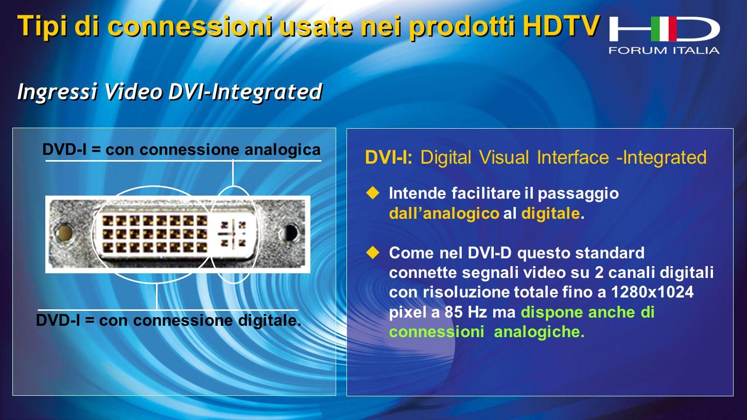 Tipi di connessioni usate nei prodotti HDTV Ingressi Video DVI-Integrated Tipi di connessioni usate nei prodotti HDTV Ingressi Video DVI-Integrated DVD-I = con connessione digitale.