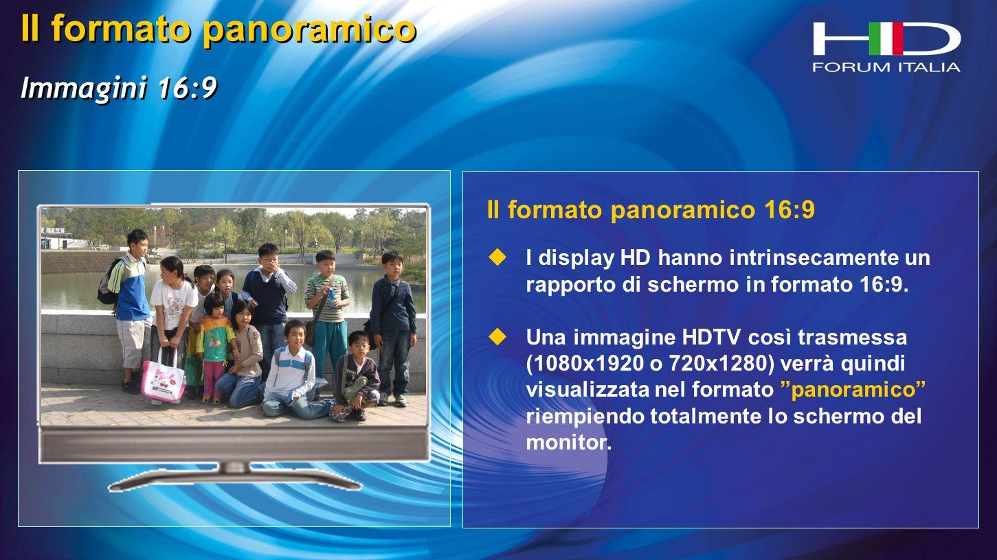 Il formato panoramico Immagini 16:9 Il formato panoramico Immagini 16:9 Il formato panoramico 16:9 I display HD hanno intrinsecamente un rapporto di schermo in formato 16:9.