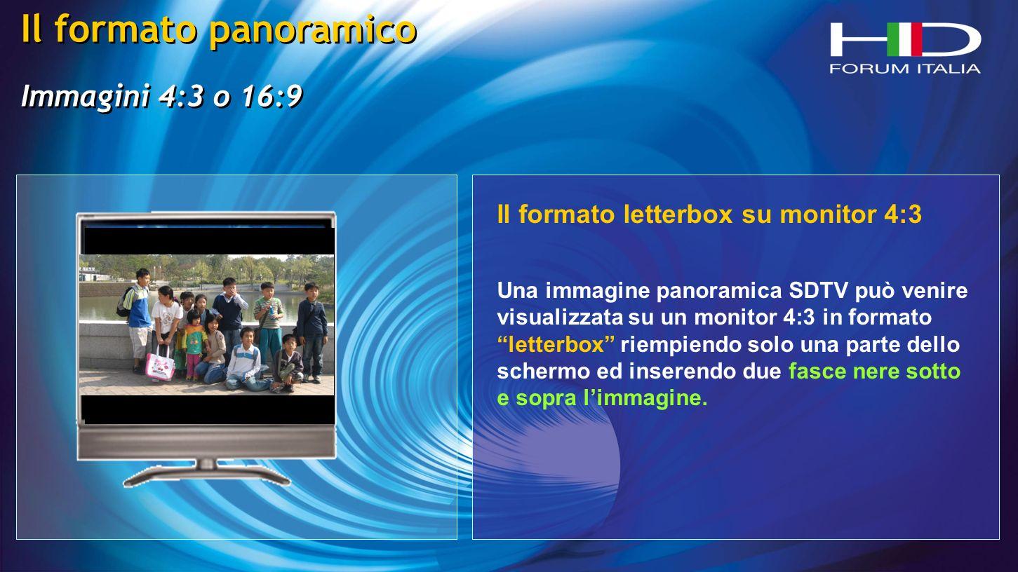 Il formato panoramico Immagini 4:3 o 16:9 Il formato panoramico Immagini 4:3 o 16:9 Il formato letterbox su monitor 4:3 Una immagine panoramica SDTV può venire visualizzata su un monitor 4:3 in formato letterbox riempiendo solo una parte dello schermo ed inserendo due fasce nere sotto e sopra limmagine.