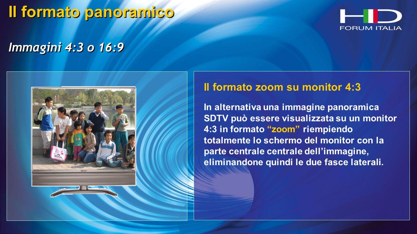 Il formato panoramico Immagini 4:3 o 16:9 Il formato panoramico Immagini 4:3 o 16:9 Il formato zoom su monitor 4:3 In alternativa una immagine panoramica SDTV può essere visualizzata su un monitor 4:3 in formato zoom riempiendo totalmente lo schermo del monitor con la parte centrale centrale dellimmagine, eliminandone quindi le due fasce laterali.