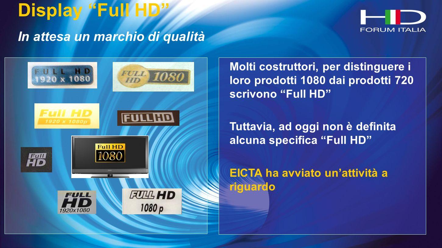 Display Full HD In attesa un marchio di qualità Molti costruttori, per distinguere i loro prodotti 1080 dai prodotti 720 scrivono Full HD Tuttavia, ad oggi non è definita alcuna specifica Full HD EICTA ha avviato unattività a riguardo