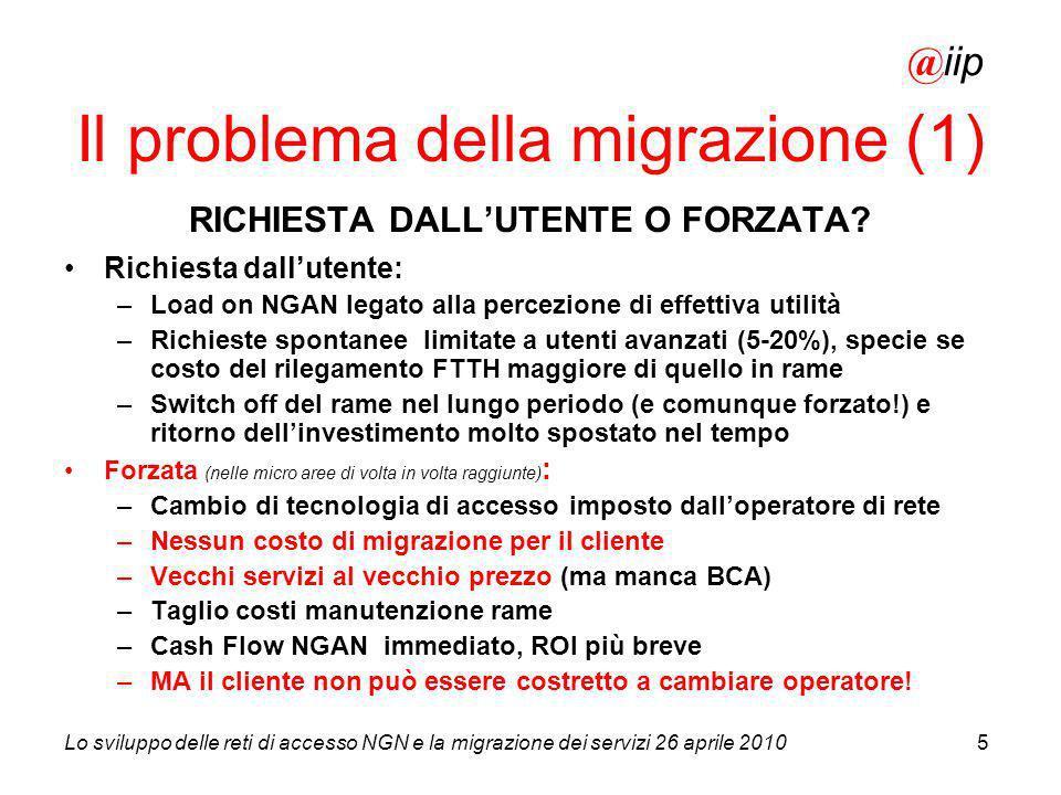 Lo sviluppo delle reti di accesso NGN e la migrazione dei servizi 26 aprile 20105 RICHIESTA DALLUTENTE O FORZATA? Richiesta dallutente: –Load on NGAN