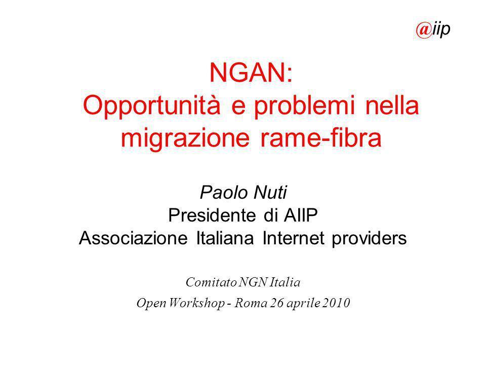 NGAN: Opportunità e problemi nella migrazione rame-fibra Paolo Nuti Presidente di AIIP Associazione Italiana Internet providers Comitato NGN Italia Op