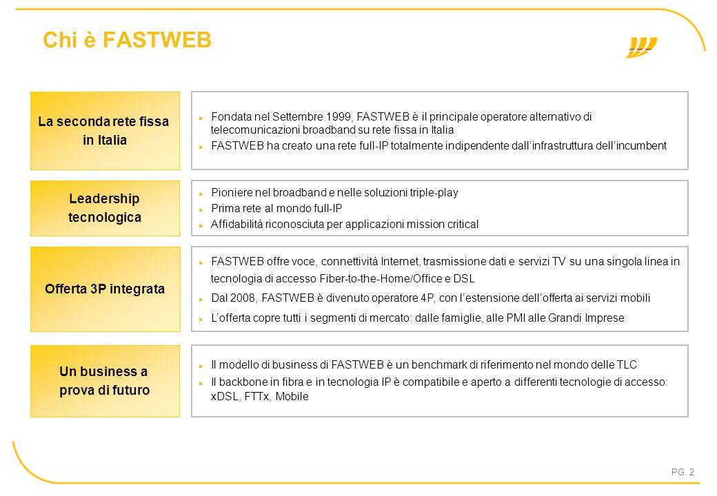 PG. 2 Chi è FASTWEB FASTWEB offre voce, connettività Internet, trasmissione dati e servizi TV su una singola linea in tecnologia di accesso Fiber-to-t