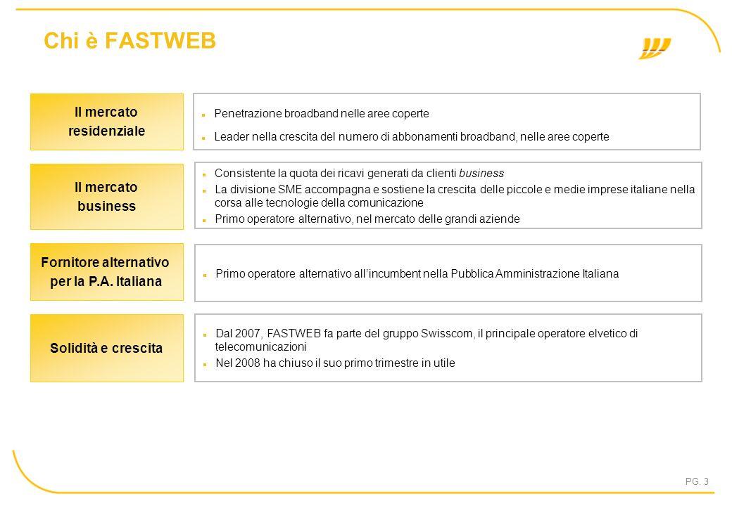 PG. 3 Chi è FASTWEB Primo operatore alternativo allincumbent nella Pubblica Amministrazione Italiana Fornitore alternativo per la P.A. Italiana Consis