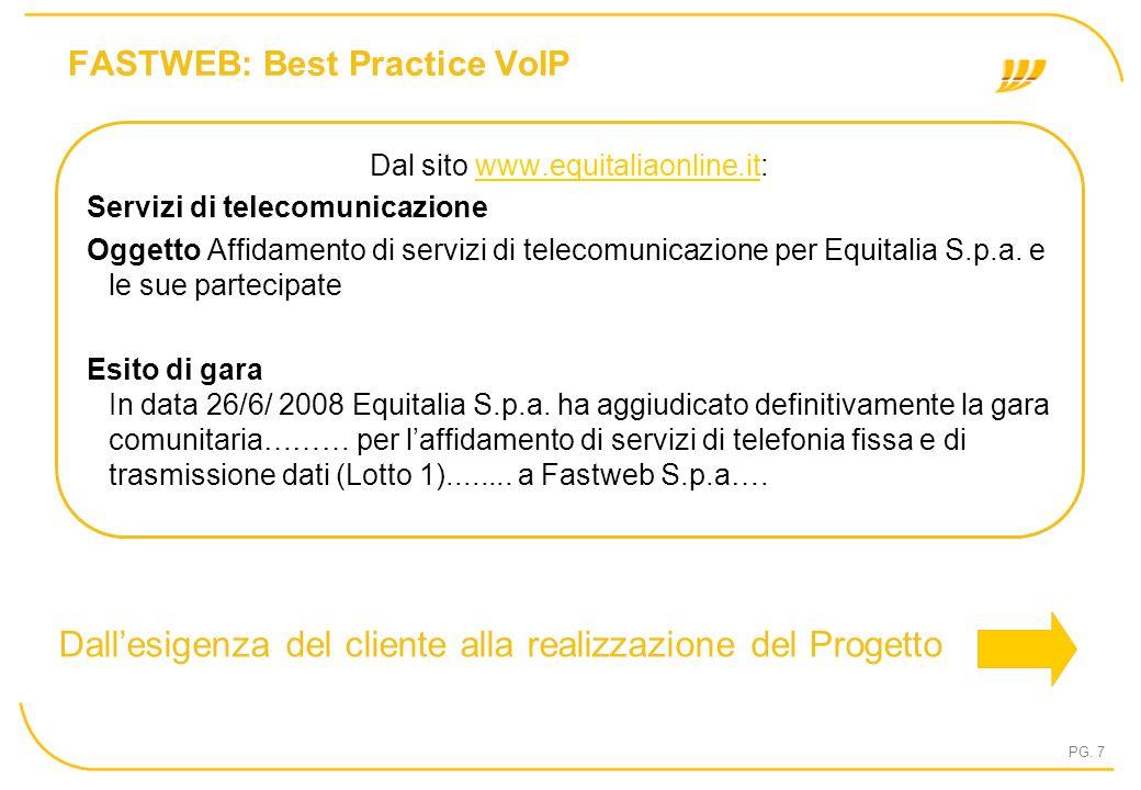 PG. 7 FASTWEB: Best Practice VoIP Dal sito www.equitaliaonline.it:www.equitaliaonline.it Servizi di telecomunicazione Oggetto Affidamento di servizi d
