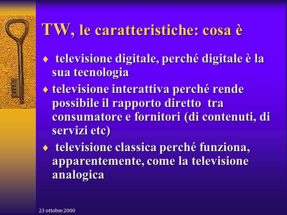 23 ottobre 2000 TW, le caratteristiche: cosa non è Non è l Internet TV né la sostituzione della stessa TV Non è l Internet TV né la sostituzione della stessa TV Non è la TV sul computer Non è la TV sul computer Non è il Personal Video Recorder Non è il Personal Video Recorder Non è la Personal TV come quella di TiVò Non è la Personal TV come quella di TiVò Non è la prossima My TV….del Consor- zio di Ricerca Europeo (per quanto si sappia) Non è la prossima My TV….del Consor- zio di Ricerca Europeo (per quanto si sappia) Non è solo un software set Non è solo un software set Ma è……………… Ma è………………