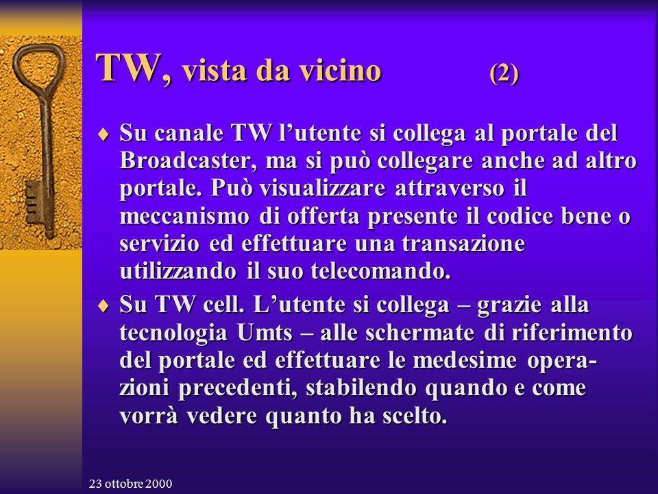 23 ottobre 2000 TW, vista da vicino (2) Su canale TW lutente si collega al portale del Broadcaster, ma si può collegare anche ad altro portale.